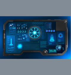 sky-fi tablet dashboard in hud style vector image