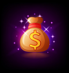 sparkling bag with money slot icon for online vector image