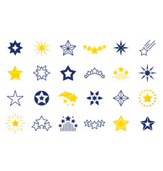 Star icons premium black and outline symbols of vector