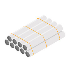 steel or aluminum pipes diameter isolated on vector image