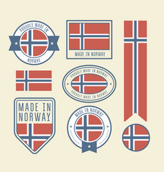 stickers tags and labels with norway flag - badges vector image
