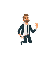successful businessman jumping happily vector image