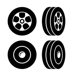 Tires Icons Set on White Background vector