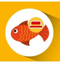 travel tourist hat concept fish icon vector image