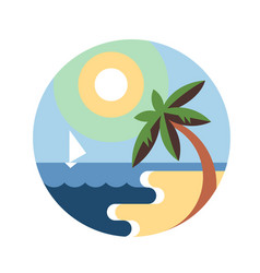 tropic beach round emblem vector image