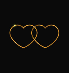two golden hearts symbol vector image