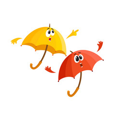 Two umbrella characters - pointing to something vector