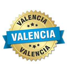 Valencia round golden badge with blue ribbon vector