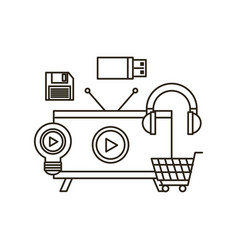 Video marketing flat line icons vector