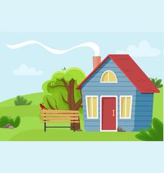 Village cottage in field vector