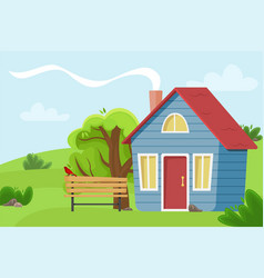Village cottage in the field vector