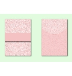 White lace pattern on a pink background set of vector