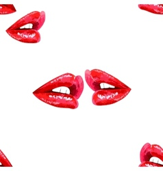 White seamless pattern with red lips vector image