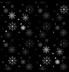 winter seamless snowflake pattern on black vector image