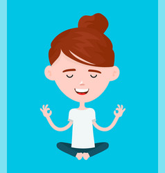woman in a lotus yoga pose relaxes vector image