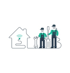 Workers with tools and in uniform vector