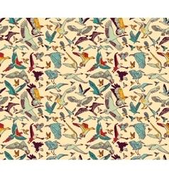 Birds seamless pattern wallpaper color vector image