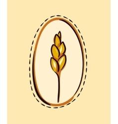 Cartoon wheat ear in a frame vector image vector image