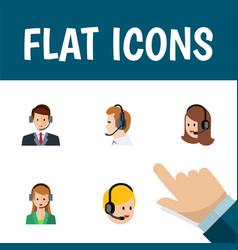 flat icon hotline set of secretary call center vector image vector image