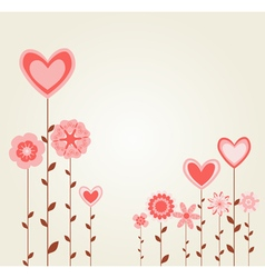 flowers with heart shapes vector image vector image