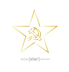 gold star with socialist symbols on white vector image vector image