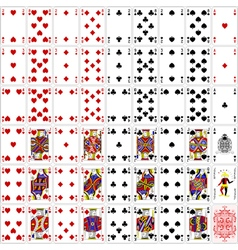 Poker cards full set four color classic design vector image vector image