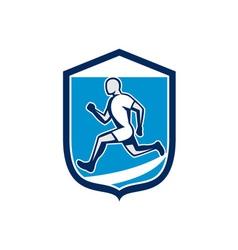 Sprinter Runner Running Shield Retro vector image