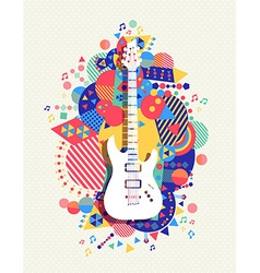 Electric guitar icon concept music color shape vector image vector image