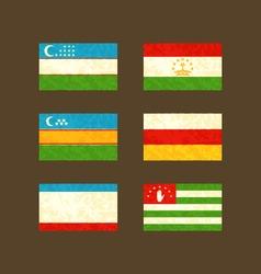 Flags of Uzbekistan Tajikistan Karakalpakstan vector image vector image