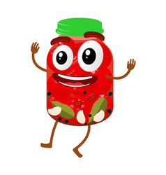pickles glass jar cartoon vector image vector image