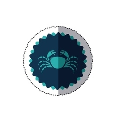 Sticker stamp border with silhouette crayfish vector