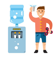 water cooler and man flat style colorful vector image vector image