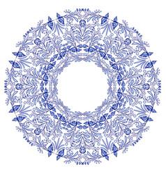 empty round frame gzhel style blue flower mandala vector image