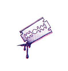hand drawn blade razor vector image vector image
