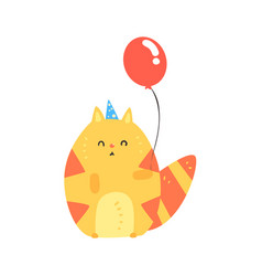 lovely cartoon red cat in a blue party hat holding vector image vector image