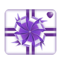 Purple gift box with heart on it isolated on white vector image vector image