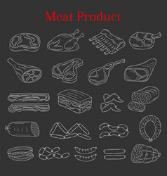 with different kinds of meat vector image