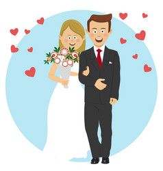 young bride and groom wedding concept vector image