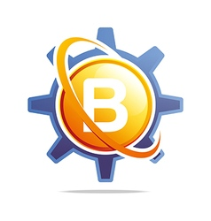 circle globe gear letter b orange abstract vector image