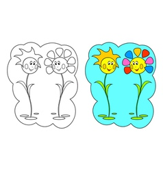Color-in Flowers vector image vector image