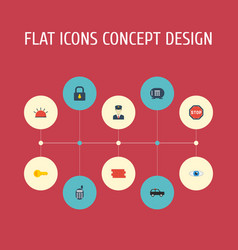 flat icons brick wall vision siren and other vector image vector image