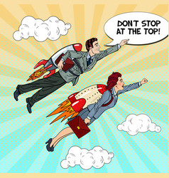 pop art businessman and woman flying on rockets vector image vector image