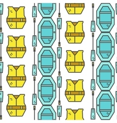 Rafting equipment seamless pattern Outdoors style vector image