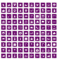 100 holidays icons set grunge purple vector image