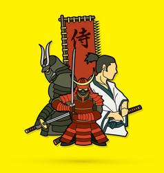 3 samurai composition cartoon vector
