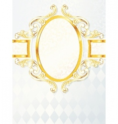 Beautiful vertical rococo wedding banner vector