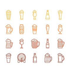 beer mug simple color line icon pub bar set vector image