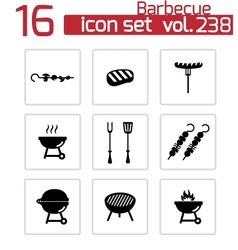 Black barbecue icons set vector
