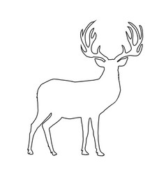 black outline silhouette of reindeer with big vector image