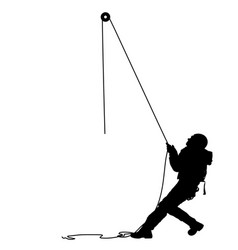 Black silhouette craftsman pulling rope on white vector